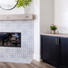 #TileEffectLaminateFlooring Mosaic Tile Fireplace, Subway Tile Fireplace, Tile Around Fireplace, Fireplace Tile Surround, Fireplace Redo, Fireplace Remodel, Fireplace Surrounds, Fireplace Design, Fireplace Mantels