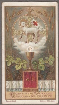 CHALICE AGNUS DEI  antique holy card blotter 4 pages  from Germany