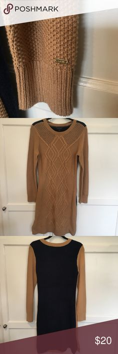 Tommy Hilfiger Cable Knit Sweater Dress Gorgeous cable knit sweater dress by Tommy Hilfiger in tan and navy. Worn once and in excellent condition with no piling, stretching or frays Tommy Hilfiger Dresses Long Sleeve