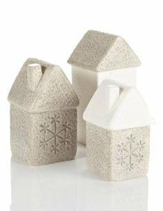 3 Ceramic House Christmas Room Decorations-Marks & Spencer