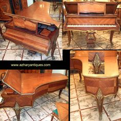 Antique Érard Piano, Circa 1905  REF:AZ113046  Rare & elegant grand Érard Piano on the Louis XV Style dated to 1905 with dual exhaust, beautiful cabriole legs and ornate all over with bronze ormolu and inlaid of the finest woods & veneers.  H: 102.5 cm  W: 150 cm D: 222 cm  http://www.azharyantiques.com/erardpiano.html