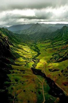 Plunging valleys of the Kualoa Ranch in Oahu, Hawaii.