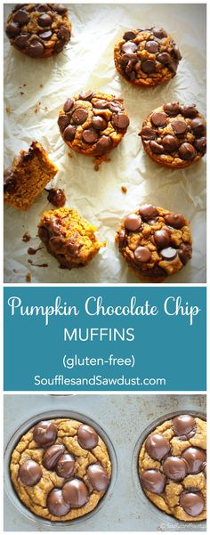 """Gluten-free, Paleo pumpkin chocolate chip muffins are so gooey and delicious, even """"normal"""" eaters won't know they're gluten free. Paleo Dessert, Best Dessert Recipes, Brunch Recipes, Breakfast Recipes, Paleo Sweets, Paleo Breakfast, Holiday Desserts, Easy Desserts, Delicious Desserts"""