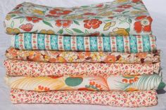 Laurel Leaf Farm - flour- and feedsack vintage fabric, shades of orange print cotton florals collection mixed prints Teal Coral, Feed Sacks, Feather Print, Fabric Shades, Vintage Cotton, Mixing Prints, Printed Cotton, Orange Color, Bed Pillows
