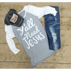 Product Details ya'll need Jesus screen print baseball raglan with sleeves true to size and super soft Material - Rayon - Spandex Measurement Large - Underarm to underarm - Top to botto Concert Fashion, Boutique Clothing, Boutique Shop, Must Haves, Cute Outfits, My Style, Tees, Sleeves, How To Wear