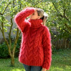 Hand Knitted Mohair Sweater Handmade Fuzzy RED Jumper EXTRAVAGANTZA S M L XL #Extravagantza #Turtleneck