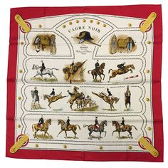 """Hermes """"Cadre Noir"""" Silk Scarf 