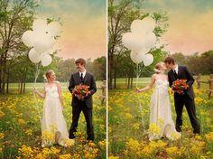Palloncini che volano per la coppia innamorata. Ricorda il matrimonio con un servizio fotografico