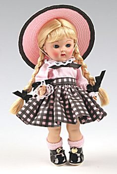 2007 Vogue 7.5 inch hard plastic Vintage Reproduction Ginny Doll, Beryl, No. 7SL054, has long blonde braids with black ribbon, moving blue eyes, ...