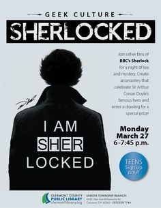 Geek out about #Sherlock, 3/27, Union Township #teens