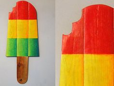 Children's Playroom Wall Nursery Art  Wall  Art  Hand Painted Ice lolly  traffic light popsicle