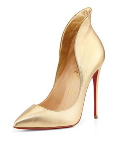 Mea Culpa Metallic Red Sole Pump, Light Gold by Christian Louboutin at Neiman Marcus.