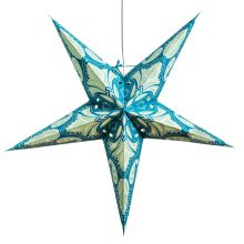 The Holiday Aisle Lotus Paper Star Pendant 3 Light Pendant, Drum Pendant, Globe Pendant, Lantern Pendant, Star Pendant, Paper Star Lights, Paper Star Lanterns, Paper Stars, Turquoise Pattern