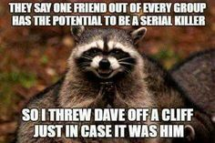 They say one friend out of every group has the potential to be a serial killer. So I threw Dave off a cliff, just in case it was him.