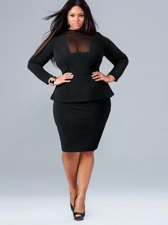 """Faith"" Mesh Front Peplum Dress - Black - What's New - Monif C"