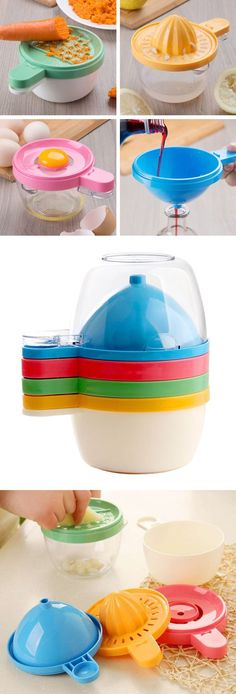 4-in-1 kitchen utensil - grater, juicer, egg separator and funnel all in one! Clever and space saving gadget #product_design