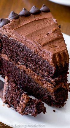 My favorite homemade chocolate cake recipe. And it's the fudgiest! Homemade recipe on sallysbakingaddiction.com