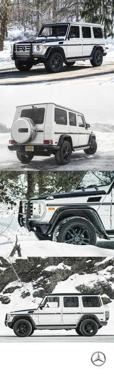 Dashing through the snow on a 382 horsepower sleigh. The and paddle-shifted automatic engine lets you take on any terrain with the Mercedes-Benz Mercedes G Wagon, Mercedes Benz G Class, Mercedes Benz Maybach, Mercedes Sprinter, My Dream Car, Dream Cars, Dream Team, Dashing Through The Snow, Motor Car