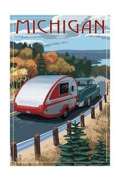 Estes Park, Colorado - Retro Camper - Lantern Press Artwork (Art Print Available) Party Vintage, Vintage Cars, Door County Wisconsin, Wisconsin Dells, Posters Vintage, Retro Campers, Classic Campers, Modern Photography, Travel Photography