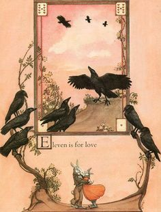 """Eleven is for Love. """"Crows: An Old Rhyme"""" by Heidi Holder ~ Farrar, Straus and Giroux, 1987"""
