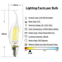 Small Edison Screw Candle Bulbs,Dimmable White Light 6000K E14 LED Candle Bulbs 8W E14 Base Candelabra Bulbs AC 120V 1150 Lumens 100W-120W Halogen Bulbs Equivalent