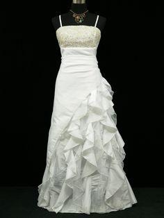 Cherlone White Ballgown Wedding Evening Bridesmaid Full Lemgth Dress Size 14
