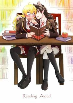 RWBY - Reading with friends.--> I have a ton of yaoi and yuri fanfic that I read at school when I'm bored and I'll occasionally read it with my crush. She usually punches me. Fanart Rwby, Rwby Anime, Rwby Blake, Yandere, Rwby White Rose, Rwby Yang, Rwby Bumblebee, Rwby Characters, Rwby Comic