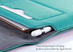 Apple iPad Pro 9.7 Case Sleeve, ProCase Wallet Sleeve Case for 9.7 inch iPad Pro tablet, Compatible with Apple Smart Keyboard and Apple Pencil, with Document Pocket and Pen Holder (Mint Green)