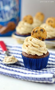 Chocolate Banana Cookie Dough Cupcakes with the BEST frosting ever!