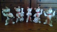 VINTAGE 5 Ceramic Cats Musical Instruments Cello Drum Oboe Singer Conductor CUTE in Figurines | eBay