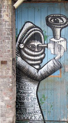 street art by Phlegm doorway by SheffTim, via Flickr 000