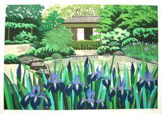 IDO, Masao [Iris in Shisen-do,Kyoto] 2000, image size:26x38cm, ed.200, Wood block