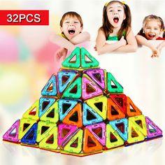 32 шт. мини-магнитные строительные блоки игрушки развивающие творческие кирпичи игрушки для детей DIY модель магнитного строительство блок #CLICK! #clothing, #shoes, #jewelry, #women, #men, #hats, #watches