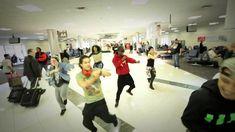 Justin Bieber Dancers perform in the Airport Terminal of Atlanta, flight...