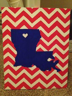 Louisiana Tech Chevron Heart in Ruston Canvas Louisiana Tech, Alma Mater, Big Little, Wooden Signs, Etsy Store, Chevron, Etsy Seller, Cross Stitch, Arts And Crafts
