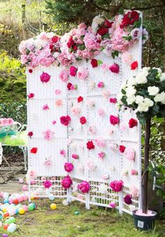 The floral photo prop backdrop is amazing!! Make sure you check out this wonderful Fairy Tale Easter Party! See more party ideas and share yours at http://CatchMyParty.com