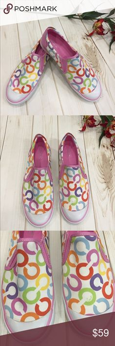 """💝Coach """"Beale"""" NWOT canvas pink slip on shoes 💝Coach """"Beale"""" NWOT canvas and leather pink multicolor slip on tennis shoes! These have never been worn and are perfect for the summer! Plum lime yellow pink baby blue on white background. Pink leather heel accents. Coach Shoes Sneakers"""