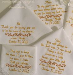 SET of 4 WEDDING HANKIE'S Mother & Father of by CanyonEmbroidery, $91.50