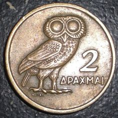 Symbol of Greece Greek 2 Drachmai Owl Bird Animal Coin