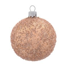 Luxurious and decorative glass Christmas bauble, taupe with glitter.