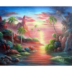 Sunset Over Paradise - Hand Painted Oil on Canvas - 20 X 24 Inches