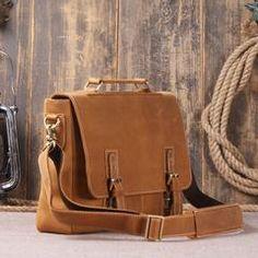 """Vintage Retro Look Genuine Leather Laptop Shoulder Bag Leather Messenger Bag Leather Bag Model Number: 8069 Dimensions:15.7""""L x 3.5""""W x 11""""H / 40cm(L) x 9cm(W)"""