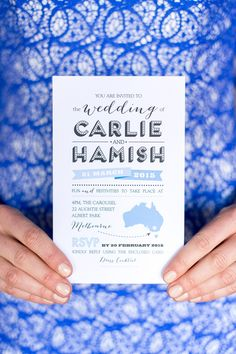 Dynamic Duo Wedding invitation design by The Print Fairy | Photo by Kate Dyer