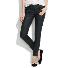 "Madewell Coated Motorcycle Skinny Ankle Jeans Our signature slim-and-stretchy fit—coated, flatteringly cropped at the ankle and finished with cool moto-inspired zip details. The only thing we like as much as old-fashioned jeans. •Sit at hips. •Fitted through hip and thigh, with a slim leg. •Leg opening: 10 1/2"". •Inseam: 28 1/2"". •98% cotton/2% elastane. •Machine wash. Madewell Jeans Skinny"
