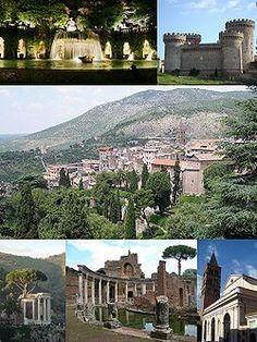 Main attractions of Tivoli, Top left: View of big fountain in Villa d'Este; Top right: Rocca Pia Castle; Center: City panorama; Bottom left:...