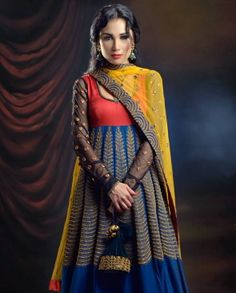 Electric Blue Anarkali with Yellow Dupatta