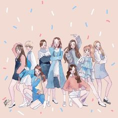 "Fan art of Jihyo (지효), Jeongyeon (정연), Chaeyoung (채영), Mina (미나), Nayeon (나연), Sana (사나), Tzuyu (쯔위), Momo (모모) and Dahyun (다현) of TWICE (트와이스) from their music video, ""TT"". 