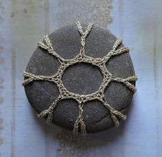 Folk Art Table Decorations Crochet Lace Stone Original by Monicaj