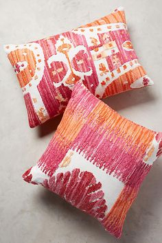 Sultana Pillow - anthropologie.comRecycled silk embroidery, Hand-embroidered cotton. A set of bright accent pillows in vibrant colors raspberry pink and summer orange.