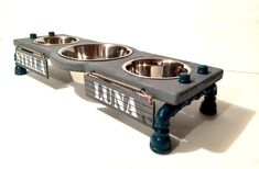 Shop now for multi-dog elevated bowl stands . We take custom requests! Dog Feeding Station, Dog Station, Dog Bowl Stand, Dog Rooms, Dog Feeder, Pet Safe, Baby Feeding, Dog Houses, Dog Food Recipes